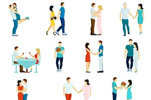 People fall in love icon set