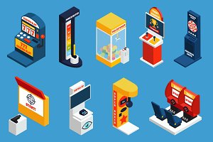 Game machine isometric icons