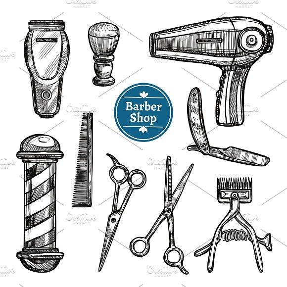 Barber shop doodle sketch icons