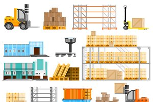 Warehouse orthogonal icons set