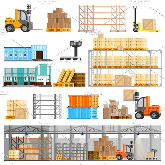 Warehouse Orthogonal Icons Set