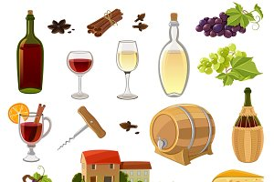 Wine cartoon icons set