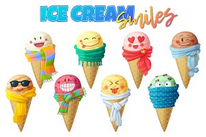 Cute cartoon icecream characters