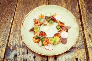 Starter dish with shrimps