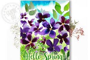 Printable cards&#x3B; Spring Violets