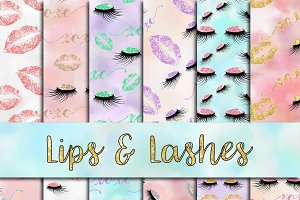 Lips & Lashes Digital Paper