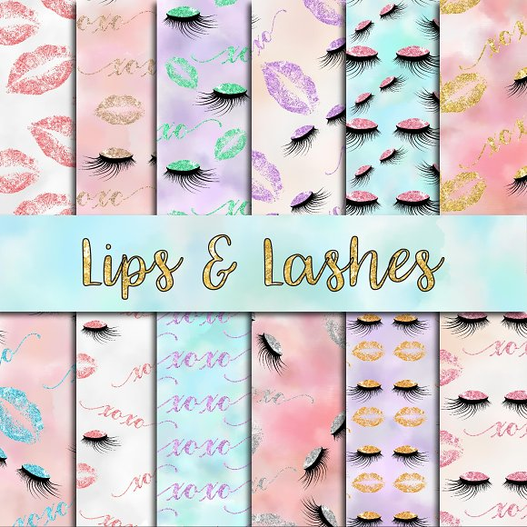 Lips Lashes Digital Paper