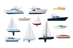 Motor boat and sailboat set