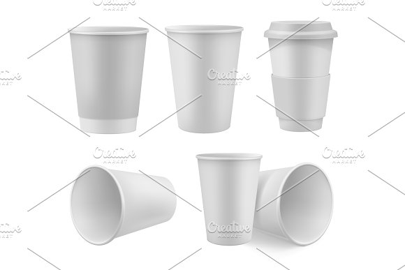 Realistic Coffee Cup Mock Up Set