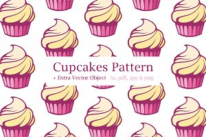 Cupcakes Pattern + Vector Object!!