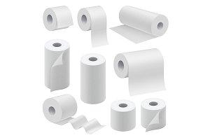Realistic paper roll mock up set