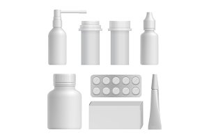Realistic medical bottle mock up set