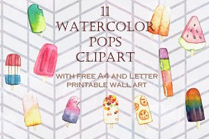 Hand Painted Watercolor Ice Popsicle