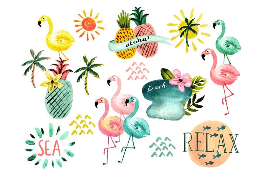 Beach watercolor. Flamingo