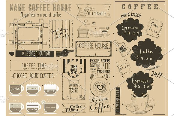 Coffee Menu Craft Placemat