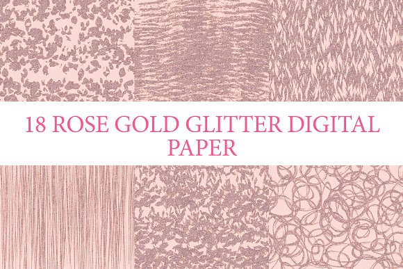 18 ROSE GOLD GLITTER PAPERS
