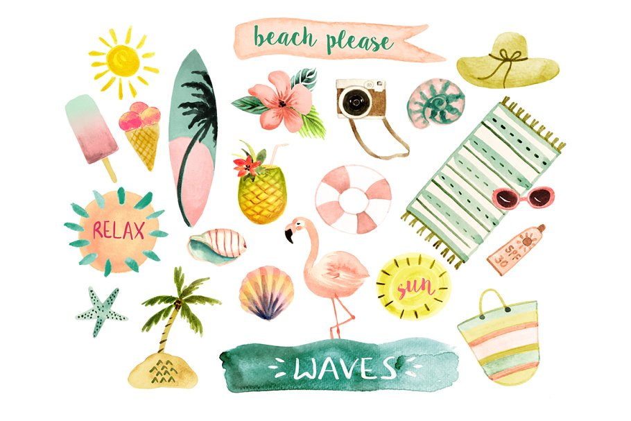 Beach watercolor. Clipart