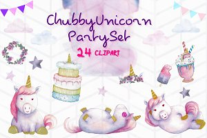 Chubby Unicorn Party Clipart