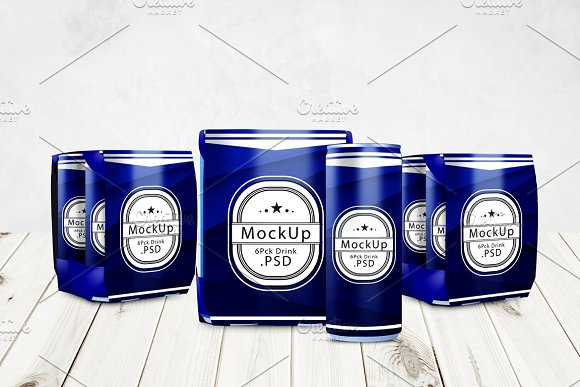 Drink Can 6 Pack Mockup V.2