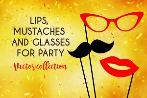 Mustaches and others items for party