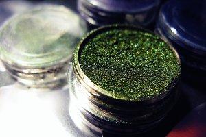 Macro photo green eye shadow pigment