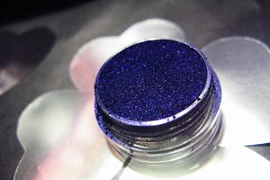 Macro photo blue eye shadow pigment