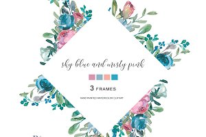 Watercolor Floral Frame Set