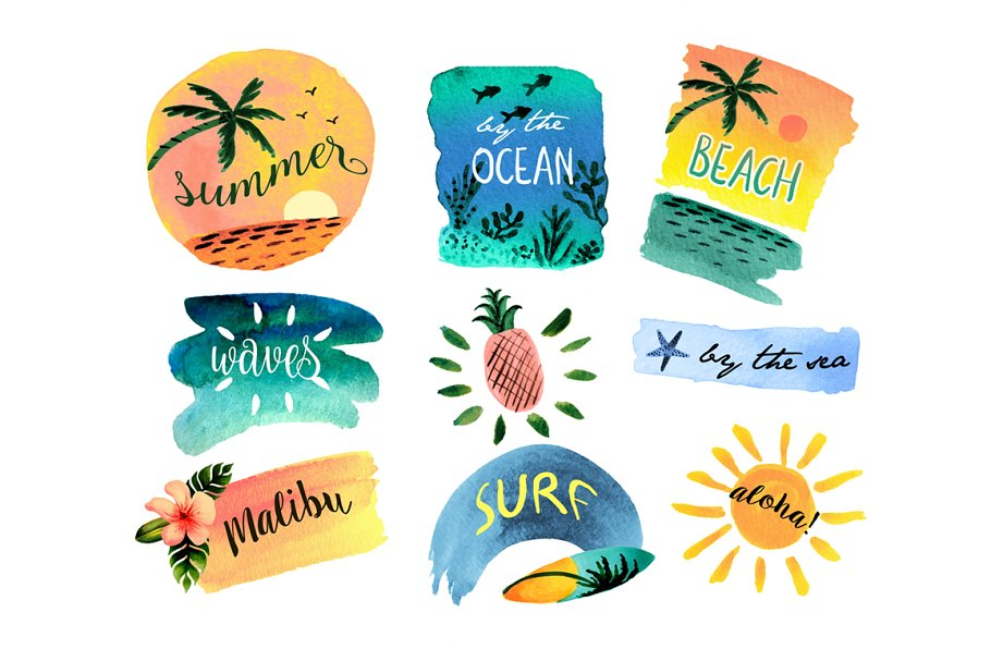 Watercolor beach. Clipart