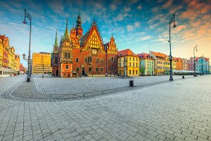 Wroclaw city center in Poland
