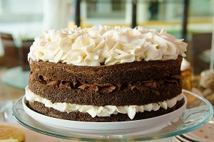Chocolate Layered Cake with Filling