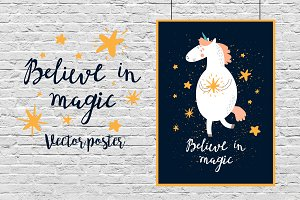 Believe in magic poster with unicorn