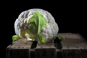 Cauliflower in dark food photography style