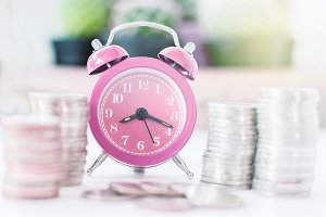 pink old fashioned alarm clock