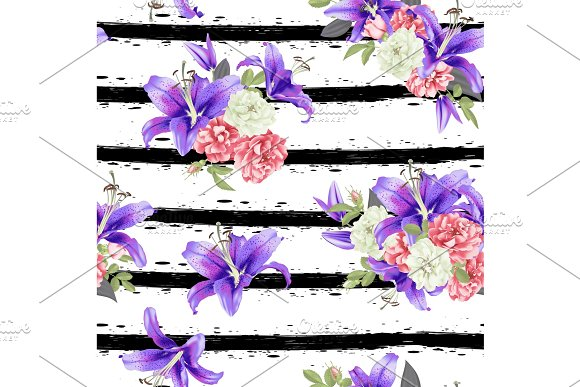 Rose And Violet Lily Seamless Pattern Vector