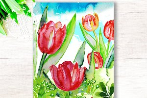 Printable cards&#x3B; Spring Tulips