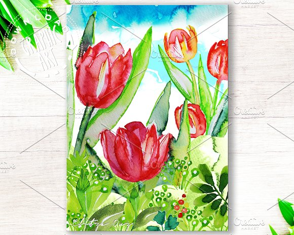 Printable Cards Spring Tulips