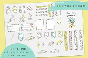 Pineapple and watermelon clipart