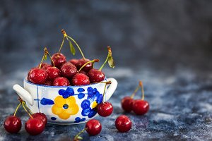 Fresh ripe  sour cherry