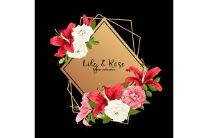 rose and lily wedding invittion. vector card.