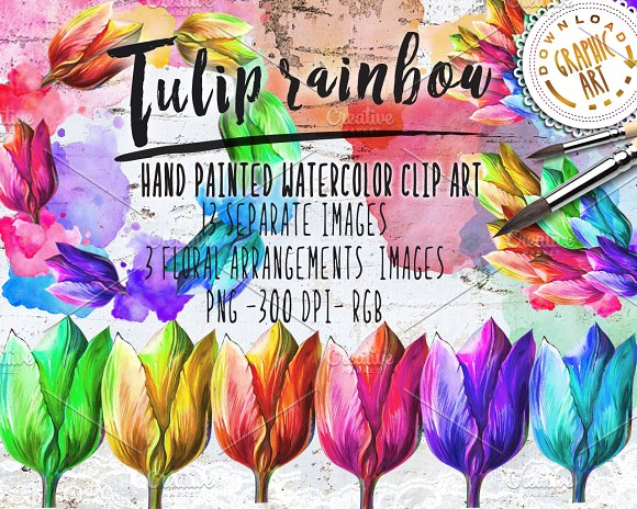 Watercolor Clipart Tulip Wreath