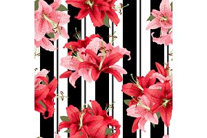 pink and red lily seamless pattern. Vector print