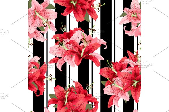 Pink And Red Lily Seamless Pattern Vector Print