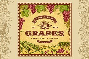 Vintage Grapes Label