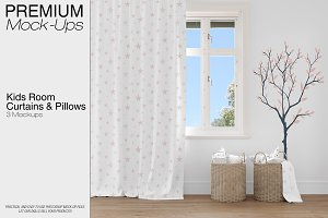 Kids Room - Curtain Pillows Wall