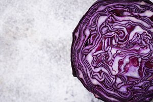 Cut red cabbage. Top view