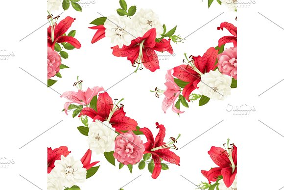 Pink Rose And Lily Seamless Pattern Vector
