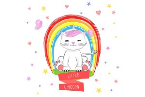 Cute kitty and inscription Little Unicorn.