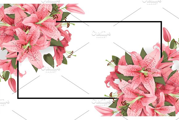 Wedding Invitation With Lily Flowers
