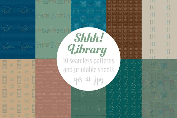 Shhh Library Seamless Patterns
