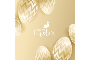 Easter eggs on gold background